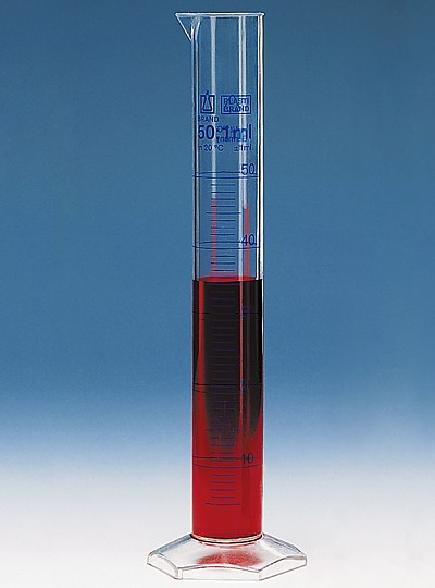 PMP Measuring Cylinder, Blue Scale / PMP메스실린더, Class A + Batch 보증서