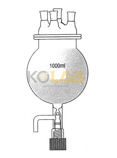 Reaction flask, Round bottom flask type, With cock, 4Neck / 콕크부플라스크형반응조세트, 4구