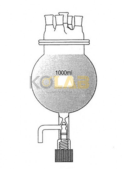 Reaction flask, Round bottom flask type, With cock, 5Neck / 콕크부플라스크형반응조세트, 5구